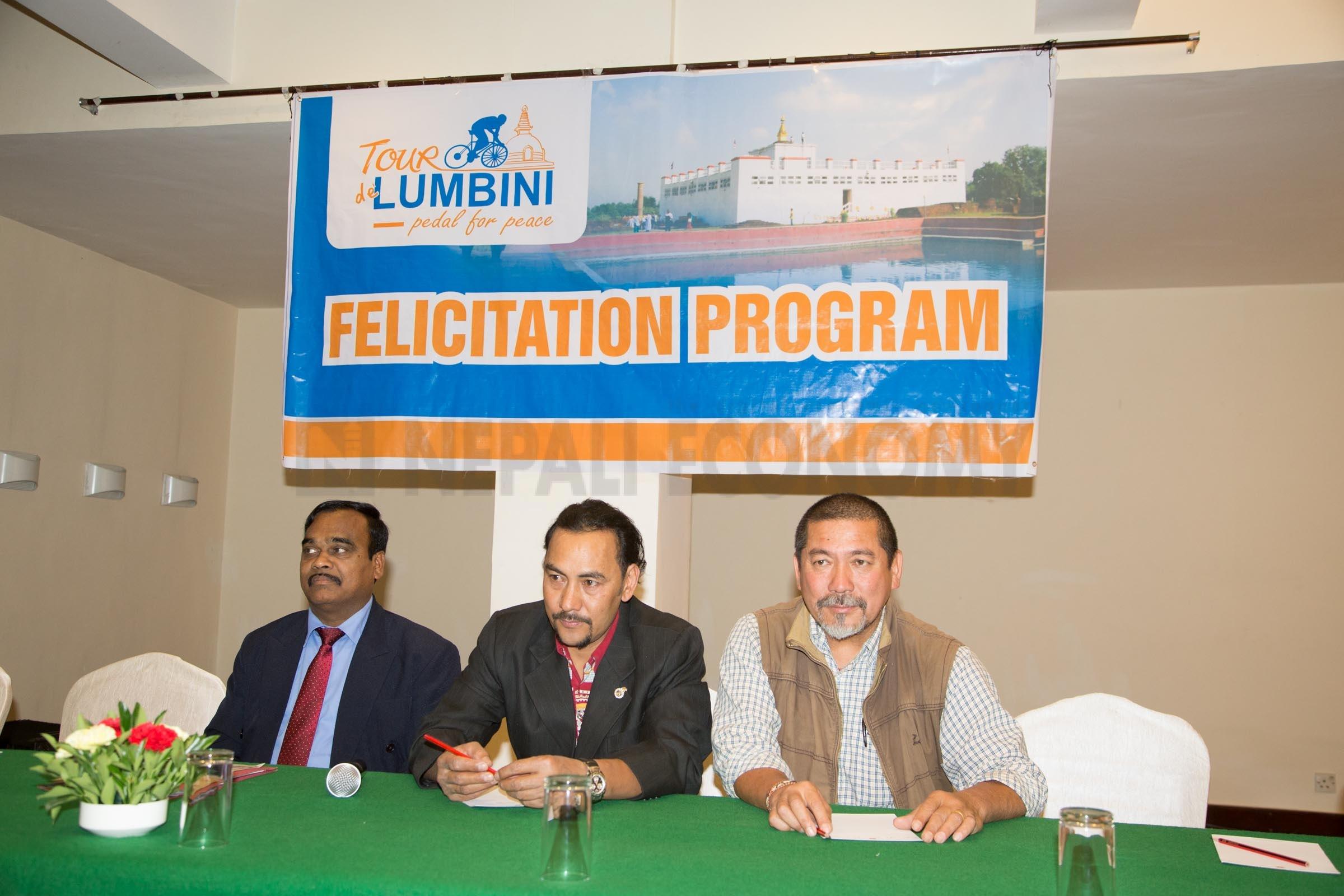 Tour de Lumbini felicitates Lankan envoy, Pun